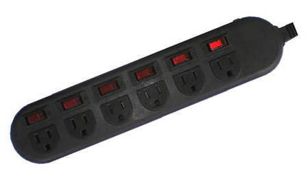 AVB LTS-2603 6 Outlet Power Strip with Individual Switches on each Outlet