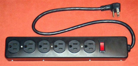 AVB LTS-6E 6 Outlet Metal Power Strip with Short Cord - Black
