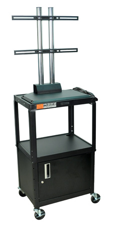 Luxor AVJ42C-LCD Adjustable Height Cabinet Cart w/LCD Mount 24Wx18Dx42H - Black