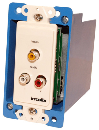 Intelix AVO-V1A2-WP-F Composite Video Wallplate Balun RCA with Stereo Audio