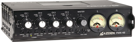 Azden FMX-42 Pro 4-Channel Microphone Field Mixer with 4 XLR Inputs