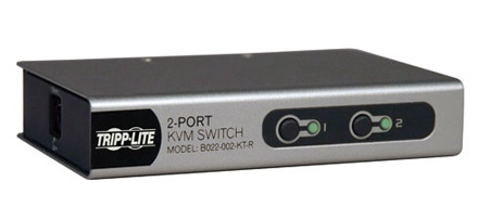 Tripp Lite B022-002-KT-R 2-Port Desktop KVM Switch w/ 2 KVM Cable Kits