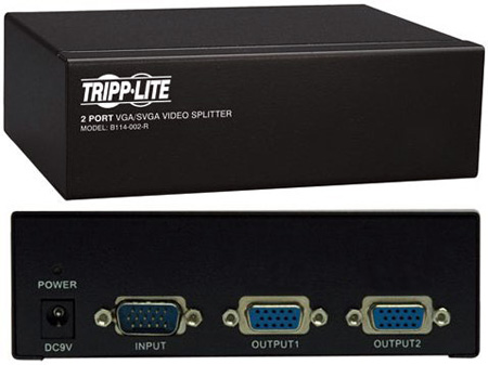 Tripp Lite B114-002-R VGA/SVGA 350MHz Video Splitter 2 Port HD15 M/2xF