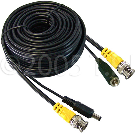 50ft Video & Power Cable w/BNC Video & 2.1mmx5.5mm DC Power Connector