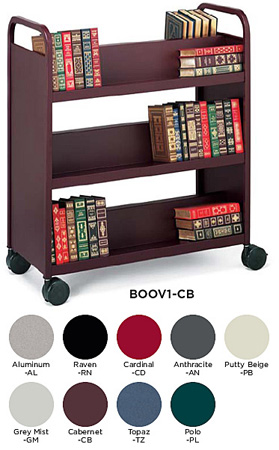 Bretford Mobile Book and Utility Truck with 6 Slant Shelves- Polo