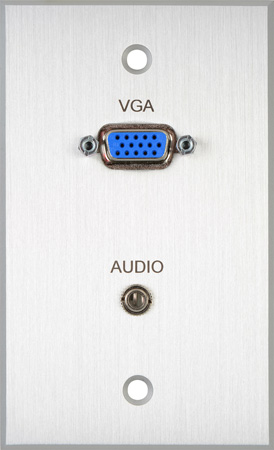 TecNec Board Room 1-Gang Black Anodized Wall Plate with HD 15-Pin Female Barrel & 3.5mm Stereo Mini Jack (Solder)
