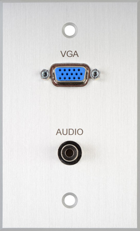 TecNec Board Room 1-Gang Clear Anodized Wall Plate with 15-Pin HD Female Barrel & 3.5mm Stereo Mini Jack