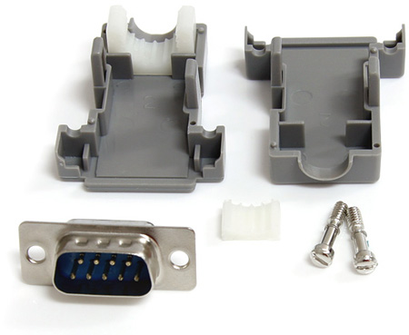 Assembled DB9 Male Solder D-SUB Connector with Plastic Backshell
