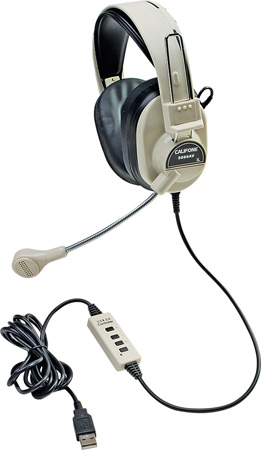 Califone 3066-USB Deluxe Stereo Headphones w/ Boom Mic and USB Plug