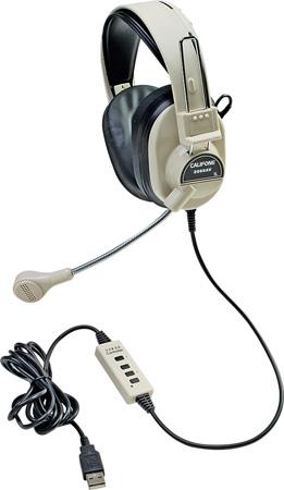 Califone 3066-USB Deluxe Stereo Headphones w/ Boom Mic and USB Plug