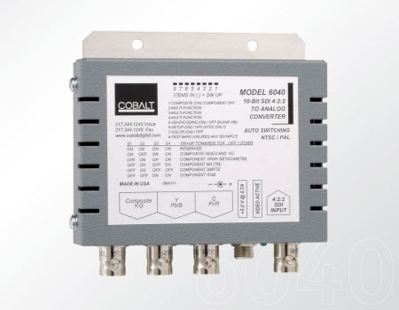 Cobalt 6040 SDI to Analog Comp w/ Y/C or Analog Component Encoder w/ Pwr Supply