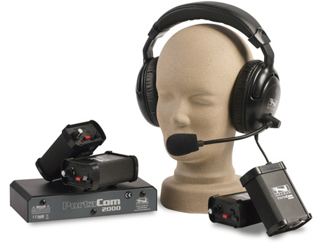 Portacom 2 Channel 4 Dual Muff Headset Wired Intercom System without Cables