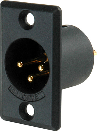 Switchcraft D3MBAU XLR Male 3 Pin Chassis Mount Black Shell/Gold Pins