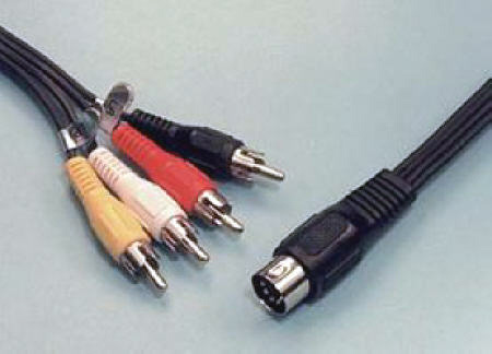 5 pin DIN to 4 RCA Plug Cable 6 Inches