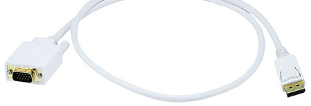 DisplayPort to VGA Cable White 3 Foot