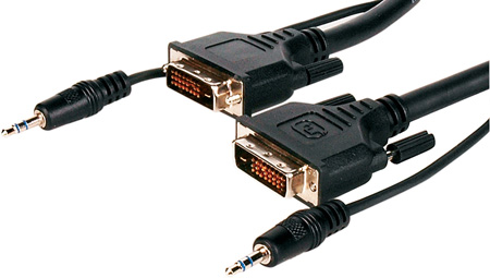 10ft DVI-D Video Cable With Attached 3.5mm Male Audio Connectors
