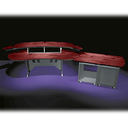 Mid-Atlantic 84 In. Desk w/Overbridge 2 Racks/2-Bay 24-Space Rack (Dark Cherry)