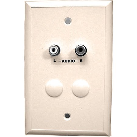 White Cat5 Wall Plate with Dual RCA Audio