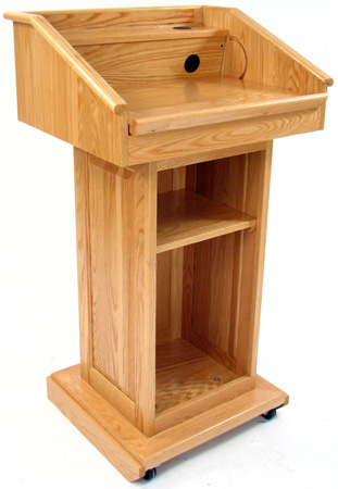Executive Wood Oak Counselor Lectern - Dark Oak Finish