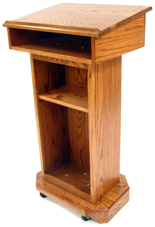 Executive Wood Senator Red Oak Lectern - Light Oak Finish