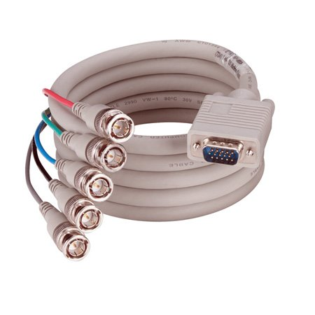 Black Box EYRGBS4-0020 VGA-RGBHV Cable (1) HD15 Male/(5) BNC PVC 20-ft