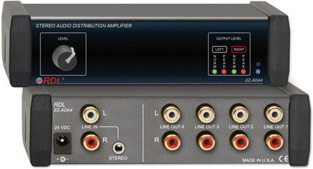 RDL EZ-ADA4 1x4 Stereo Audio Distribution Amplifier