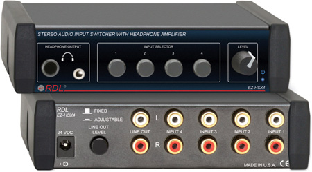 RDL EZ-HSX4 4x1 Stereo Audio Input Switcher with Headphone Amp with UK Plug