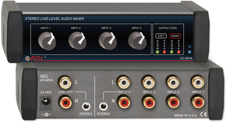 RDL EZ-MX4L 4x1 Stereo Line-Level Audio Mixer