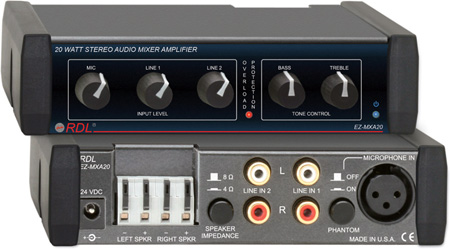 RDL EZ-MXA20 20 Watt Stereo Audio Mixer Amplifier