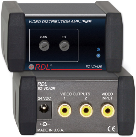 RDL EZ-VDA2R 1x2 NTSC/PAL Video Distribution Amplifier on RCA