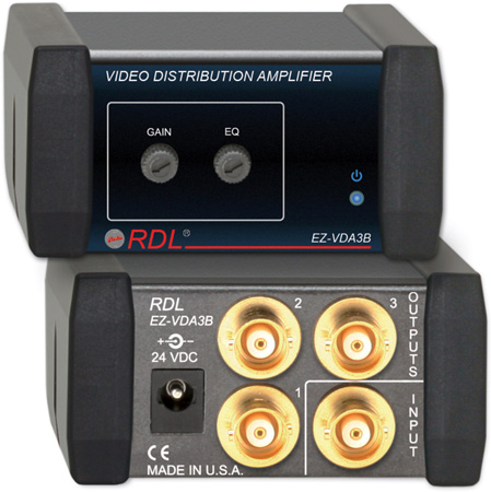 RDL EZ-VDA3B 1x3 NTSC/PAL Video Distribution Amplifier on BNC