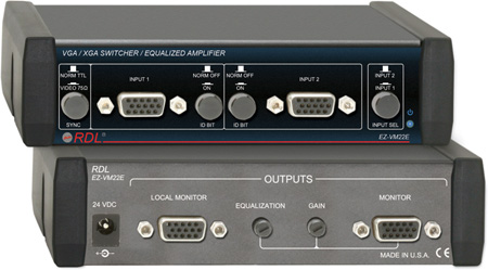 RDL EZ-VM22E VGA/XGA Switcher/Equalized Amp - 2 Inputs & 2 Outputs