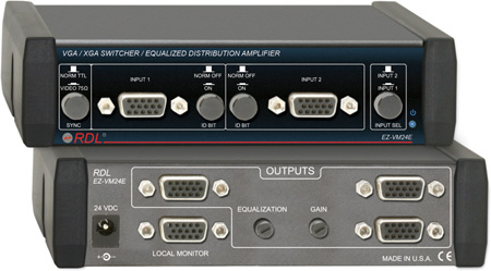 RDL EZ-VM24E VGA/XGA Switcher/Equalized DA 2 Inputs & 4 Outputs