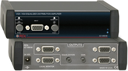 RDL EZ-VMD4E VGA/XGA Equalized Distribution Amp - 1x4