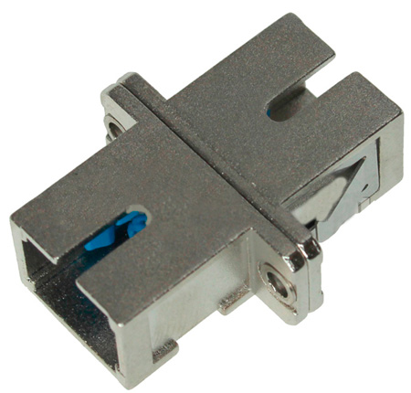 SC to SC Fiber Adapter Simplex Singlemode with Zirconia Sleeve & Metal Flange