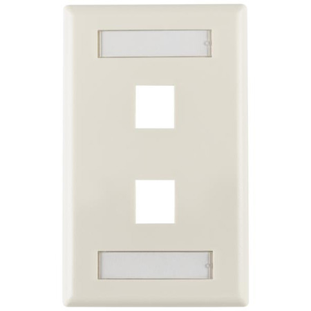 Two Port Flushmount Faceplate with ID Window Ivory