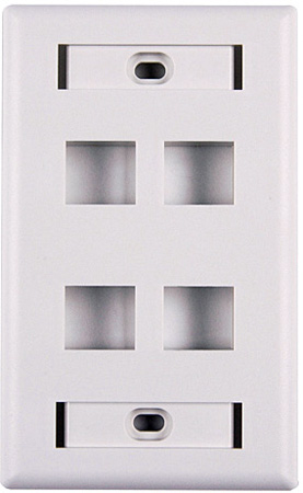 HellermannTyton Four Port Flushmount Keystone Wall Plate with ID Window White