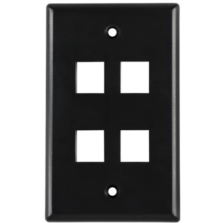 Four Port Flushmount Keystone Faceplate White