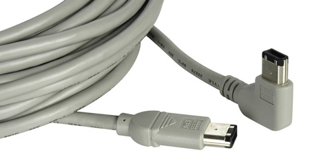 Right Angle 6-Pin Firewire to Standard 6-Pin Firewire 6ft Black
