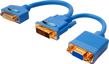 Gefen ADA-DVI-2-DVIVGA DVI-D Dual Male to 1 DVI-I Dual Link F and 1 VGAF Y Cable