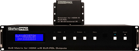 GefenPRO GEF-HDFST-848-8ELR 8x8 HDMI Matrix for HDMI w/ 8 ELR-POL Outputs