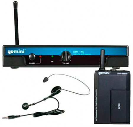 Gemini UHF-116HL Headset/Lav Wireless System
