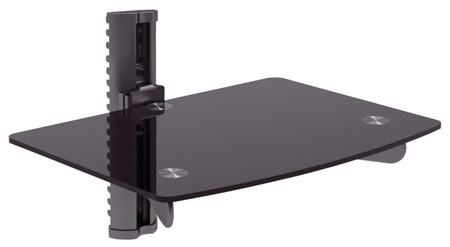 Bentley Mounts DVD-2BE Single Adjustable Wall Mount Glass Shelf for DVD/VCR
