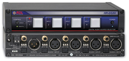 RDL HR-DSX4 Digital Audio Selector - 4x1