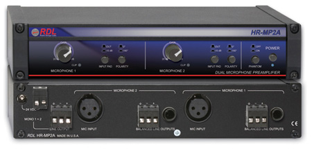 RDL HR-MP2A Dual Microphone Preamplifier