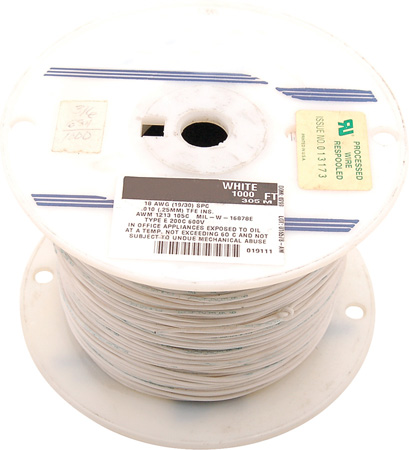 18 AWG 300V Stranded Hook-Up Wire 100 Foot Spool White