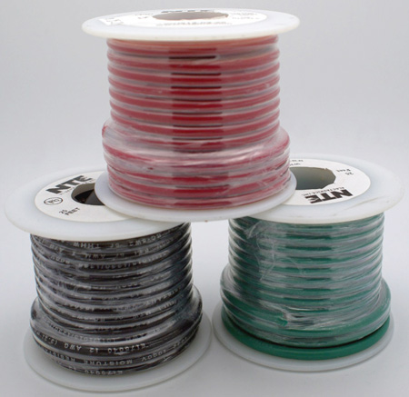 NTE Electronics 22 AWG 300V Stranded Hook-Up Wire 100 Foot Spool Black