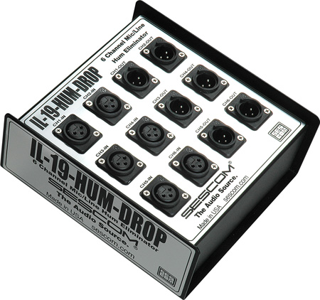 Sescom IL-19-HUM-DROP Six Channel Professional Audio Hum Eliminator / Isolation for FOH Mix Down Rooms & Stage Use!
