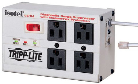 Tripp Lite ISOTEL4ULTRA 4-Outlet w/ Modem/Fax Protection Isobar Surge Suppressor