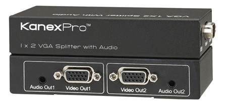 KanexPro VGA1X2SP 1x2 VGA w/35mm Audio Splitter / Distribution Amp